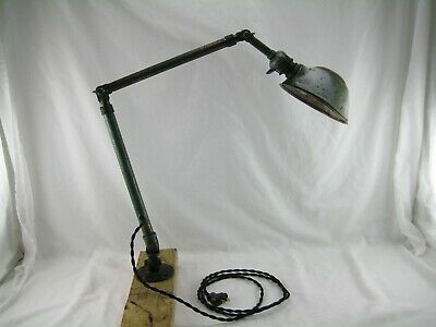 Vintage Ajusco Industrial Lamp Articulated Bench Machine Desk Lamp Used Working