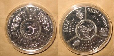 1998 Singapore + COOK ISLAND + FIJI+ SAMOA $2D Fan-Shaped 5 OZ Proof(PP)Silver C