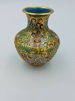 Chinese Cloisonne Enamel Small Vase Raised 3D Colourful Floral On Gold Motif