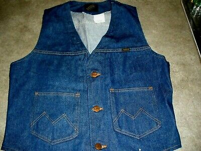 Maverick Automaticks Jean Denim Vest Ranch Western Made In Usa Med Vintage