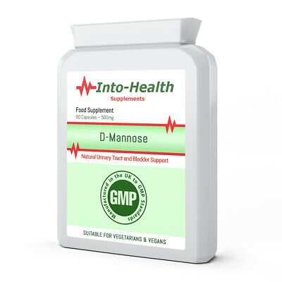 D-Mannose 500mg x 90 Capsules; Quality GMP Supplement; Into-Health