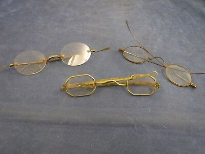 Lot of 3 Antique 19th Century Eyeglass Spectacle Frames