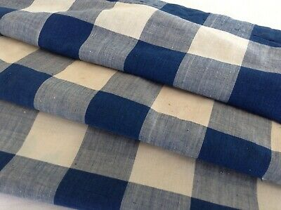Antique French Vichy check fabric  blue rare lovely 19th c. shabby chic