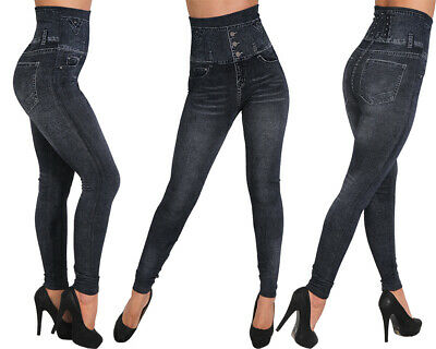 Damen Bauchweg Leggings Slim Treggings Hose Jeans Optik Jeggings High Waist