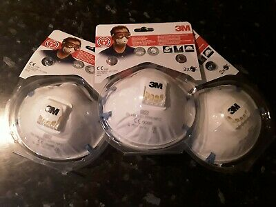 BRAND NEW 9 in total  3M 8822 FFP2 DUST AND MIST RESPIRATOR MASK VALVED