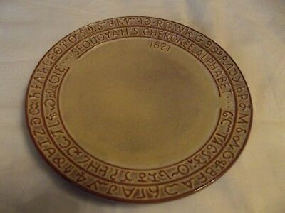 "Decorative Dinner 9"" Plate Brown Frankoma 7FS Sequoyah's Cherokee Alphabet 1821"