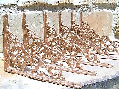 SIX Cast Iron Wall Shelf Brackets Small Shiny Copper colored braces