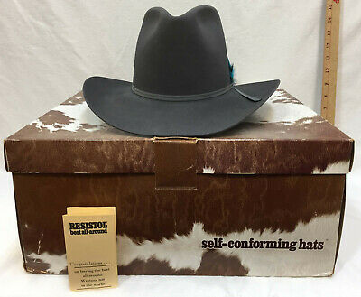 86a4a72aa0aaf Cowboy Hat Resistol Mens Granite Gray Blue Felt w  Feathers Size 7 Texas  Made