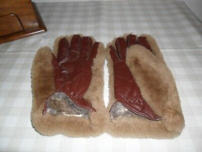 Vintage Dents Leather / Faux Fur Gloves  Real Fur Lining