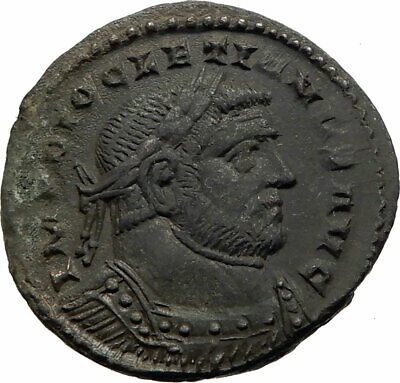 DIOCLETIAN Authentic Ancient 300AD LONDON Londinium Roman Coin GENIUS i75574