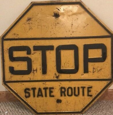 VINTAGE ORIGINAL 1930'S 1940'S YELLOW State Route Steel Rare Antique Sign Patina