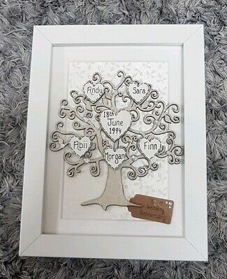 25 Wedding Anniversary Gift.25th Wedding Anniversary Gift Personalised Family Tree Frame 25 Years Silver