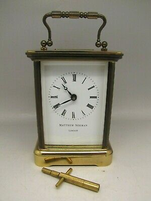 Mathew Norman Brass 8 Day London Carriage Clock 5 glass
