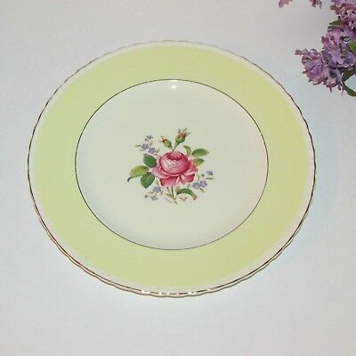Myott Staffordshire Dinner Plate Yellow Band Pink Rose Artist Signed England