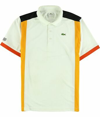 bd7a7ed1d Lacoste Mens Colorblocked Rugby Polo Shirt orangeblack 3XL