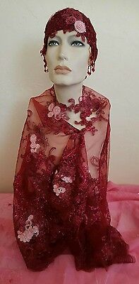 Merlot Gatsby 20's Waterfall Bead Sequin Lace Flapper Bridal Headpiece/Shrug Set
