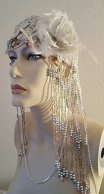 Gatsby Red Waterfall Bead Silver Sequin Crystal Flower Flapper Headpiece Bridal