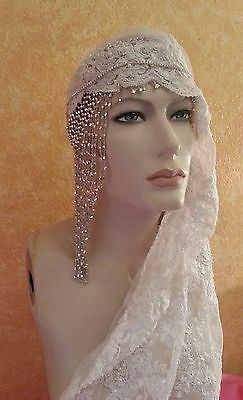 Flapper Gatsby 20's Ivory Pearl Lace Silver Beaded Crystal Bridal Headpiece