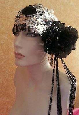 Gatsby 20's Flapper Black Beaded Silver Sequin Taffeta Rose Bridal Headpiece