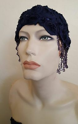 Blue Gatsby 20's Waterfall Bead Sequin Rosette Lace Flapper Headpiece Bridal