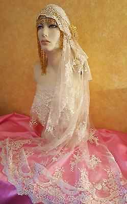 Gatsby 20's Flapper Ivory Lace Pearl Gold Beaded Crystal Bridal Headpiece