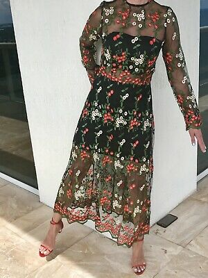 e548c83fae92 VONE Ivonne Magdalena 2 6 8 10 Tulle Embroidered Floral Midi Dress  Anthropologie