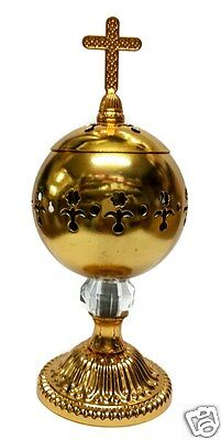 Charcoal Gold Metal Incense Burner Cross Top Censer Distiller Home & Church