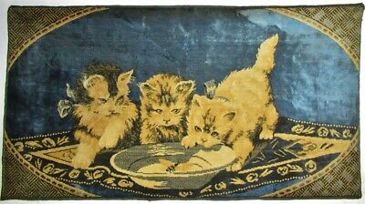 """Vintage Tapestry Rug Wall Hanging Kittens Playing with Bug Made In Belgium 40"""""""