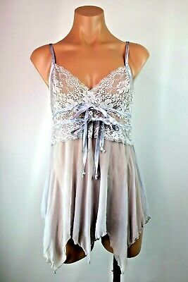 Frederick's Of Hollywood Lilac Lace Babydoll VTG 90s M lingerie bridal Sheer