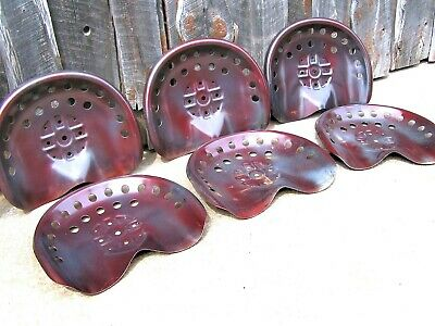 SIX Steel tractor Farm machinery metal stool seat s New Old Style Red