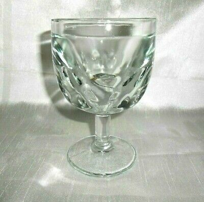 Vintage Clear Goblet Glass Thumbprint Heavy Thick