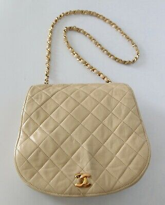 ed5ca7ca82e5 VINTAGE CHANEL BEIGE Quilted Lambskin Flap Shoulder Bag Gold HW ...