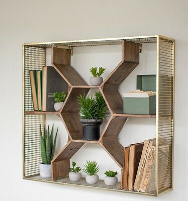 "Wooden Honeycomb Wall Shelf Geometric Metal Mesh Frame Antique Brass Finish 30""W"