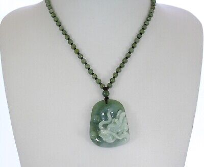 "1.8""China Certified Grade A Nature Hisui Jadeite Jade Oil Lucky Dragon Necklace"