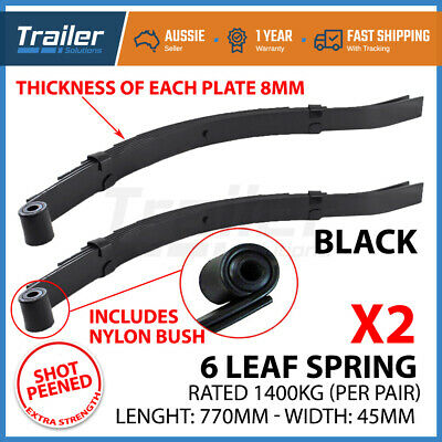 Pair 6 Leaf Eye To Slipper Trailer Springs 45Mmx8Mm  Horse Float 1400Kg Caravan