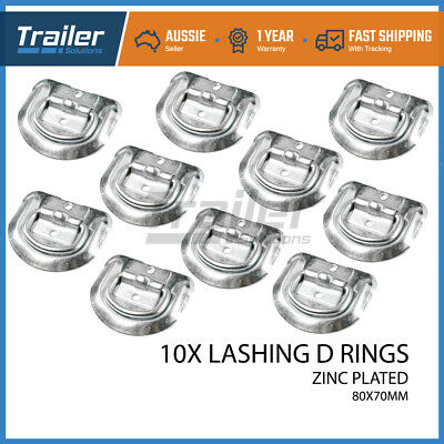 10 X Lashing D Ring Zinc Plated Tie Down Points Anchor Ute Trailer 80 X 70Mm