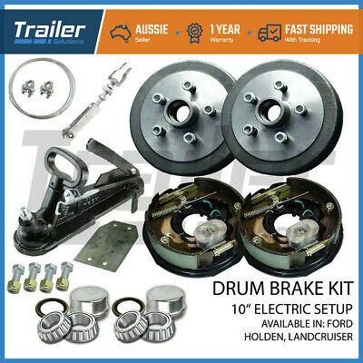 "10"" 5 Stud Trailer Electric Drum Brake & Coupling Hitch Kit Camper Caravan"