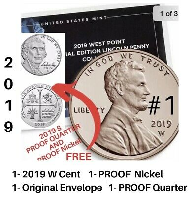 2019 W Point PROOF PENNY /Orig . Envelope and 2019 S PROOF QUARTER,2019 S Nickel