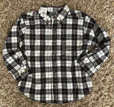 New Toddler Boys Unisex Children's Place Plaid Long Sleeve Dress Shirt – Size 4T