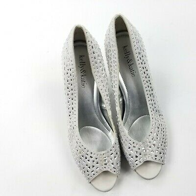 55286786420e Kelly   Katie Wedding Shoes 7.5 Heel Mid High Gray Studs Peep Toe Formal  Gown