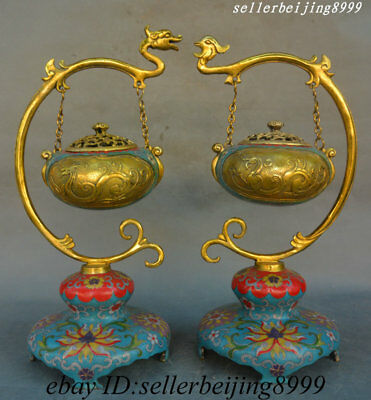 Old China Bronze Cloisonne Enamel Dragon Phoenix Suspension Incense Burner Pair