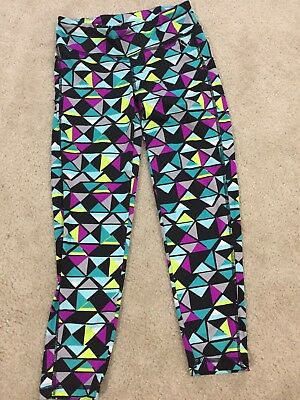 ae17492ddd6bf1 Aeropostale Live Love Dream Black Teal Purple Geometric Crop Leggings Yoga  XS