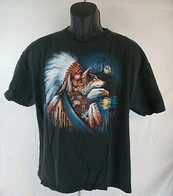 6fede46f Vintage Native American Indian Wolf Bald Eagle Graphic T-Shirt Adult Size XL