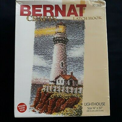 "Bernat Crafts Lighthouse Latch Hook Kit 16"" x 32"" KT 263 NEW Damaged Box"