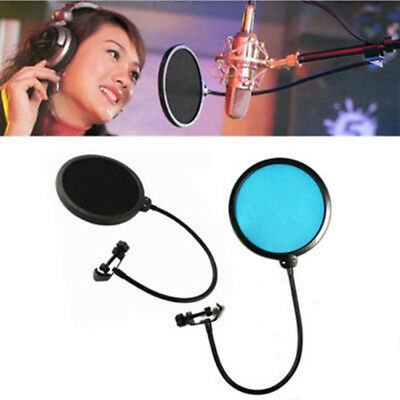 Dual Layer Studio Microphone Mic Wind Screen Pop Filter Mask Shied Record Black