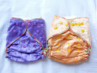 1x Bamboo Cotton Velour Fitted Reusable Nappy with BAMBOO COTTON INSERT