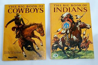 2 Books THE BIG BOOK OF COWBOYS Indians Big Treasure Books 1950 Sydney Fletcher