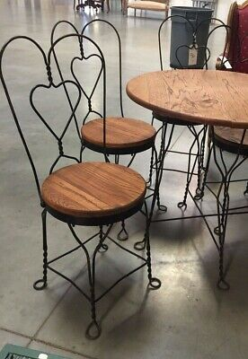 Antique Oak Ice Cream Parlor Table and Wrought Iron Chairs