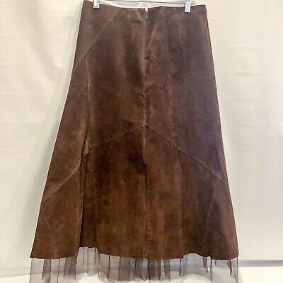 96cd3ae5bf Leather long western skirt cowgirl country festival Tulle Brown Womens Size  14