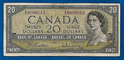1954 CANADA Canadian twenty 20 DOLLAR BILL prefix S/E NOTE circulated